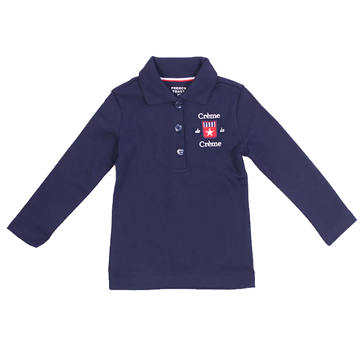 GIRL'S LONG SLEEVE PICOT POLO - NAVY