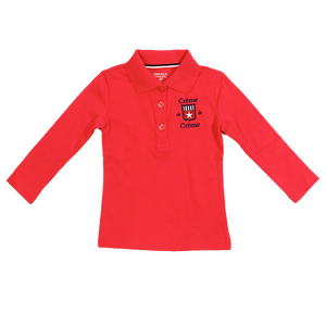 GIRL'S LONG SLEEVE PICOT POLO - RED
