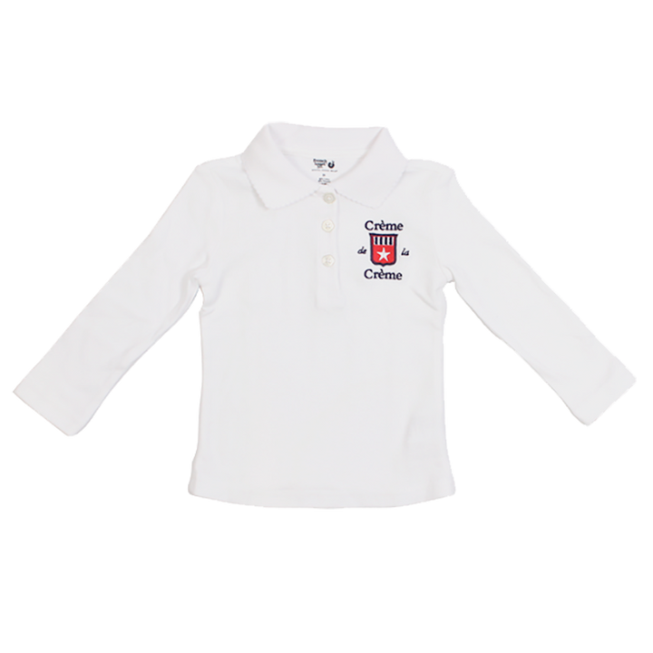 GIRL'S LONG SLEEVE PICOT POLO - WHITE