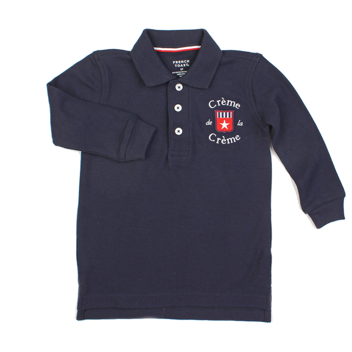 BOY'S LONG SLEEVE POLO - NAVY