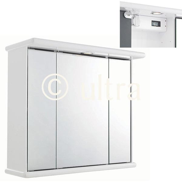 Ultra Cryptic Gloss White Triple Door Cabinet Light & Shaver Socket | LQ375