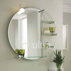 Ultra Magnum Round Mirror with Light & Glass Shelves | LQ310
