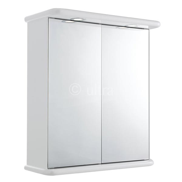 Ultra Niche White Gloss Double Mirror Cabinet with Light | LQ387