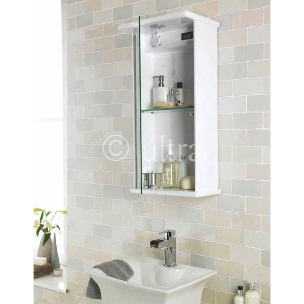 Ultra Niche Single Mirror Cabinet with Light, Shaving Socket & Digital Clock | LQ386