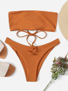LACE UP BANDEAU BIKINI SET