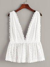 Load image into Gallery viewer, Plus Eyelet Embroidery Deep V Neck Backless Top