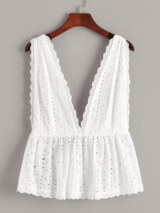 Plus Eyelet Embroidery Deep V Neck Backless Top