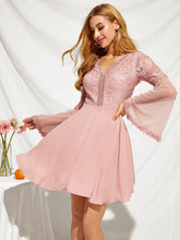 Load image into Gallery viewer, KNOT BACKLESS LACE BODICE MESH SLEEVE DRESS
