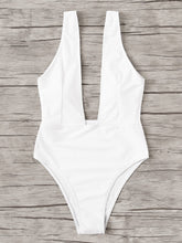 Load image into Gallery viewer, PLUNGING NECK SOLID ONE PIECE SWIMSUIT