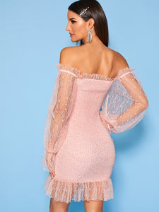 OFF SHOULDER MESH INSERT SHIRRED BODYCON DRES