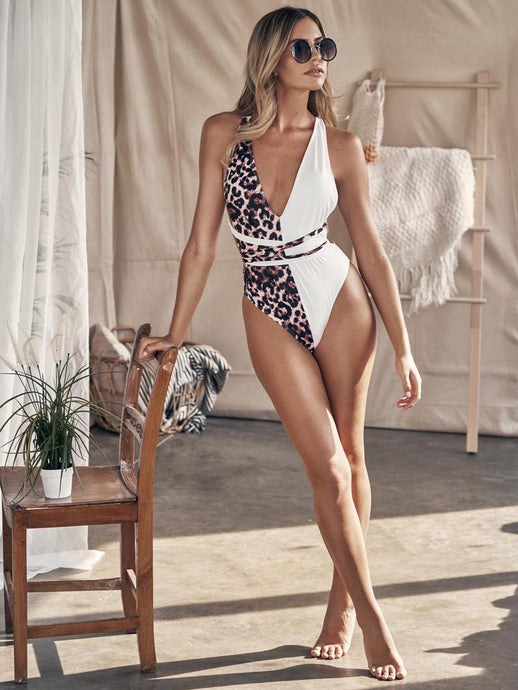 LEOPARD CRISS CROSS BACKLESS ONE PIECE SWIMWEAR