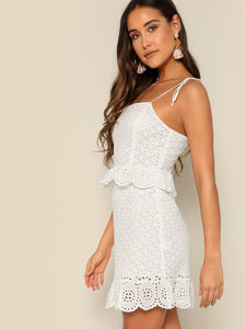 TIED SHOULDER RUFFLE TRIM SCHIFFY DRESS