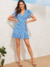 Load image into Gallery viewer, FLUTTER SLEEVE TIE SIDE FLIPPY HEM WRAP DRESS