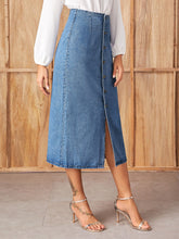 Load image into Gallery viewer, SLIT FRONT BUTTON UP DENIM SKIRT