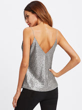 Load image into Gallery viewer, Metallic Sequin Cami Top