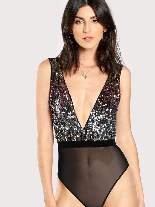 Sequin Plunging Cami Bodysuit