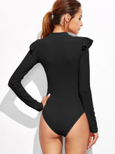 Load image into Gallery viewer, Mock Neck Frill Detail Textured Bodysuit