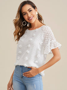 SWISS DOT FLOUNCE SLEEVE TOP