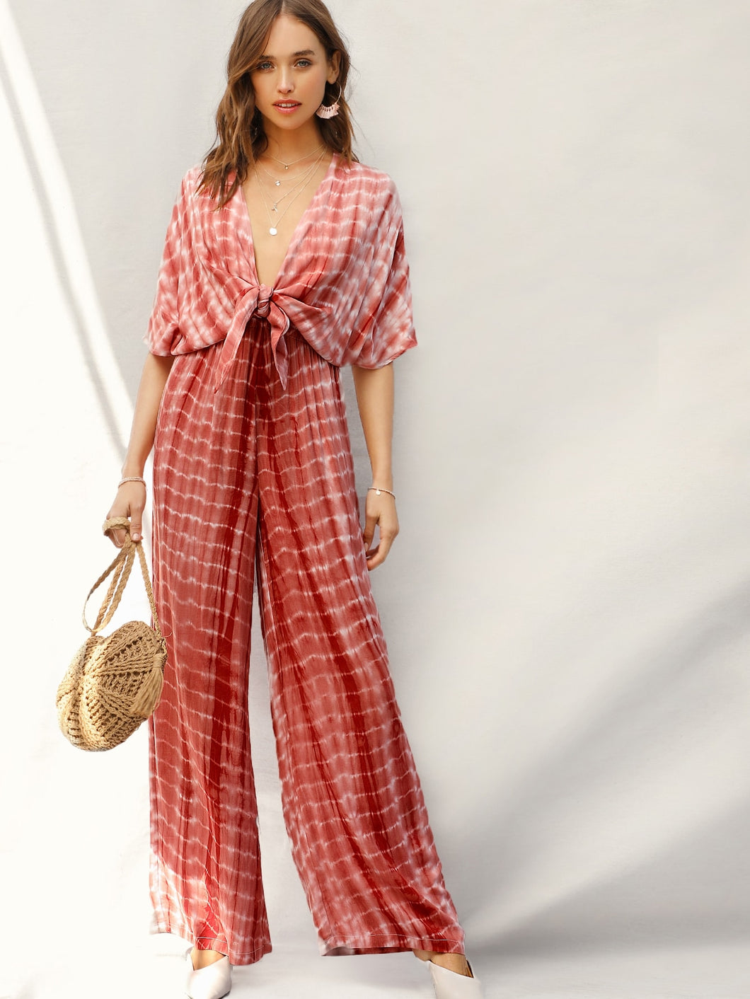 SHEIN Plunging Neck Knot Front Tie Dye Palazzo Jumpsuit
