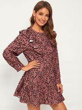 Load image into Gallery viewer, Dalmatian Print Ruffle Trim Button Up Smock Dress