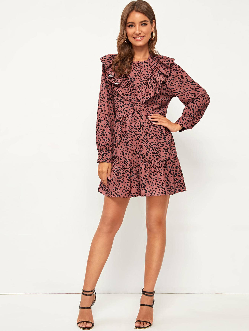 Dalmatian Print Ruffle Trim Button Up Smock Dress