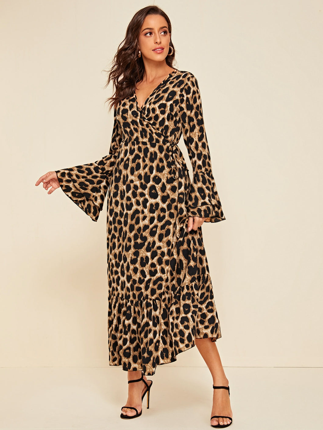 Leopard Print Flounce Sleeve A-line Dress