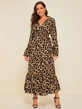 Load image into Gallery viewer, Leopard Print Flounce Sleeve A-line Dress