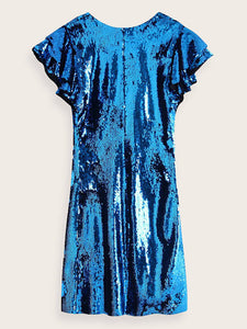 Deep V-neck Sequin Dress