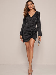 Solid Surplice Front Ruched Satin Dress