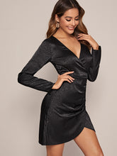 Load image into Gallery viewer, Solid Surplice Front Ruched Satin Dress