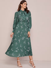 Load image into Gallery viewer, Plants Print Tie Neck Pleated Hem Dress