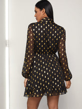 Load image into Gallery viewer, Metallic Polka Dot Tie Neck Dress