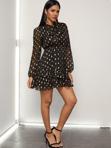 Metallic Polka Dot Tie Neck Dress