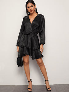 Solid Surplice Front Layered Hem Dress