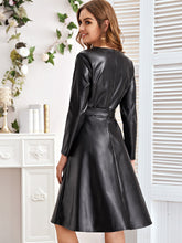 Load image into Gallery viewer, PU Leather A-Line Dress