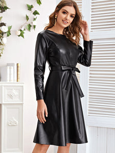 PU Leather A-Line Dress