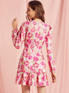 Cu-out Ruffle Floral Dress
