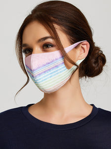 4pcs Striped & Heart Print Face Mask