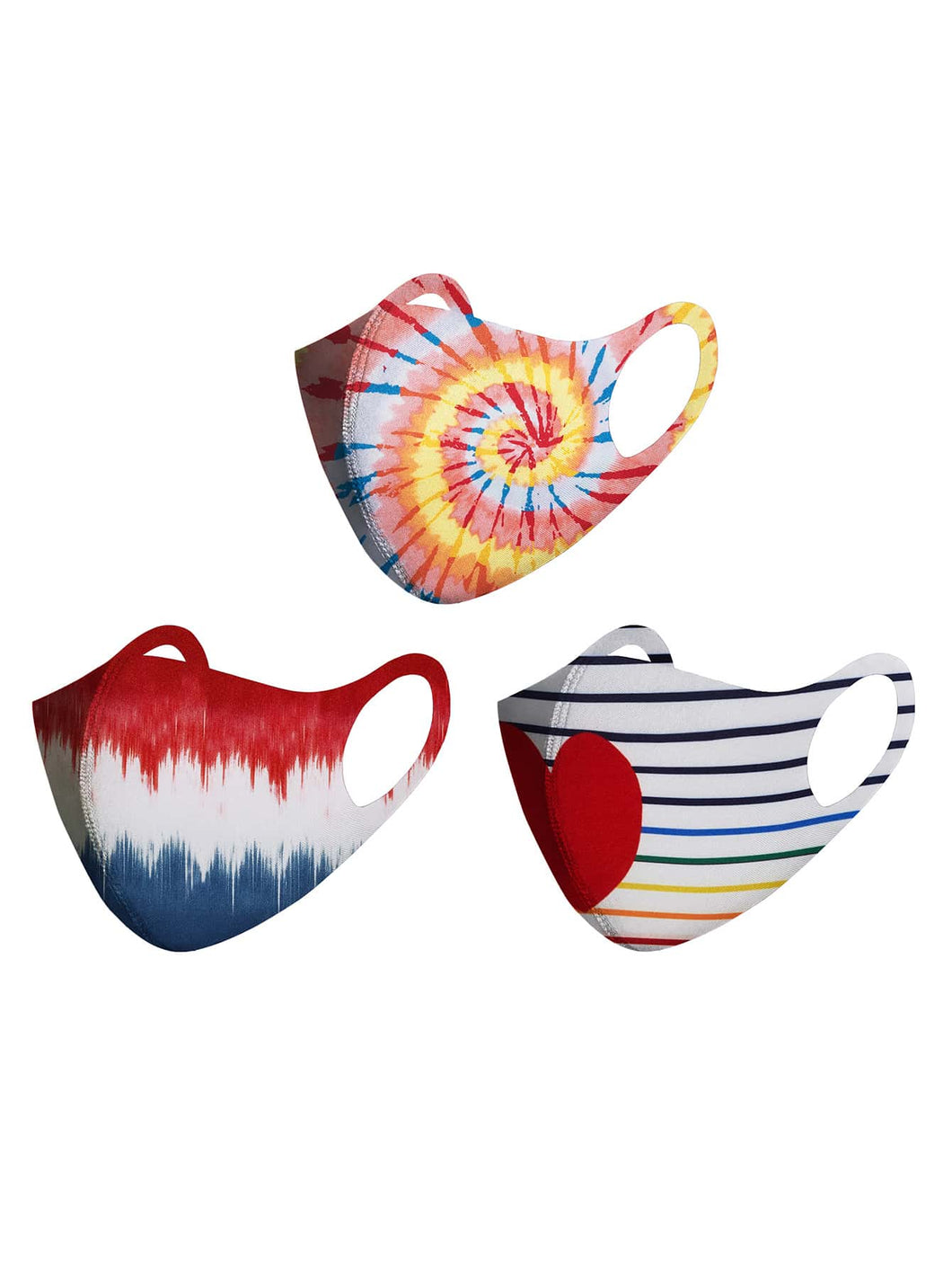 3pcs Striped & Heart Print Face Mask