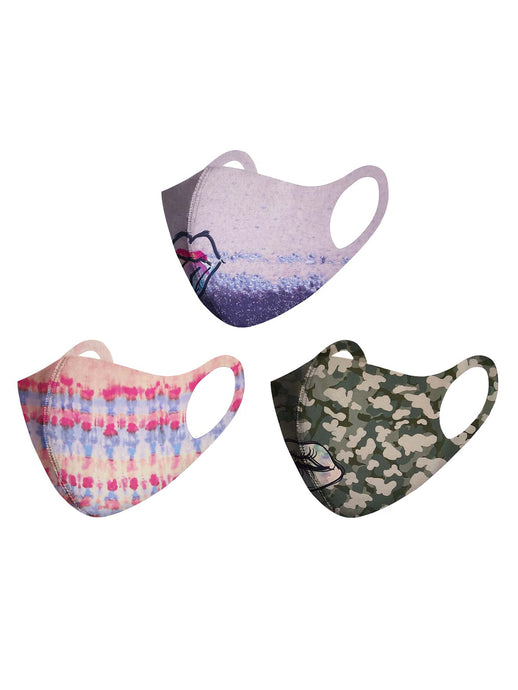 3pcs Striped & Camo Pattern Face Mask