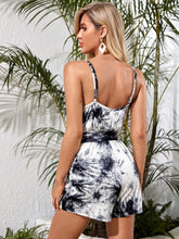 Load image into Gallery viewer, SHEIN Surplice Wrap Belted Tie Dye Cami Romper