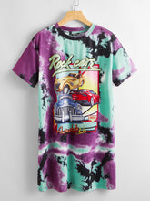 Load image into Gallery viewer, Letter and Car Print Tie Dye Tee Dress