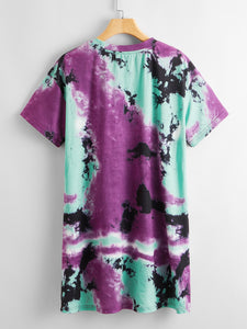 Letter and Car Print Tie Dye Tee Dress