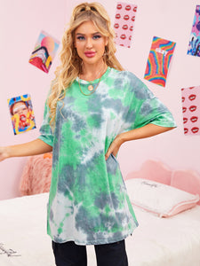 Drop Shoulder Tie Dye Longline Tee