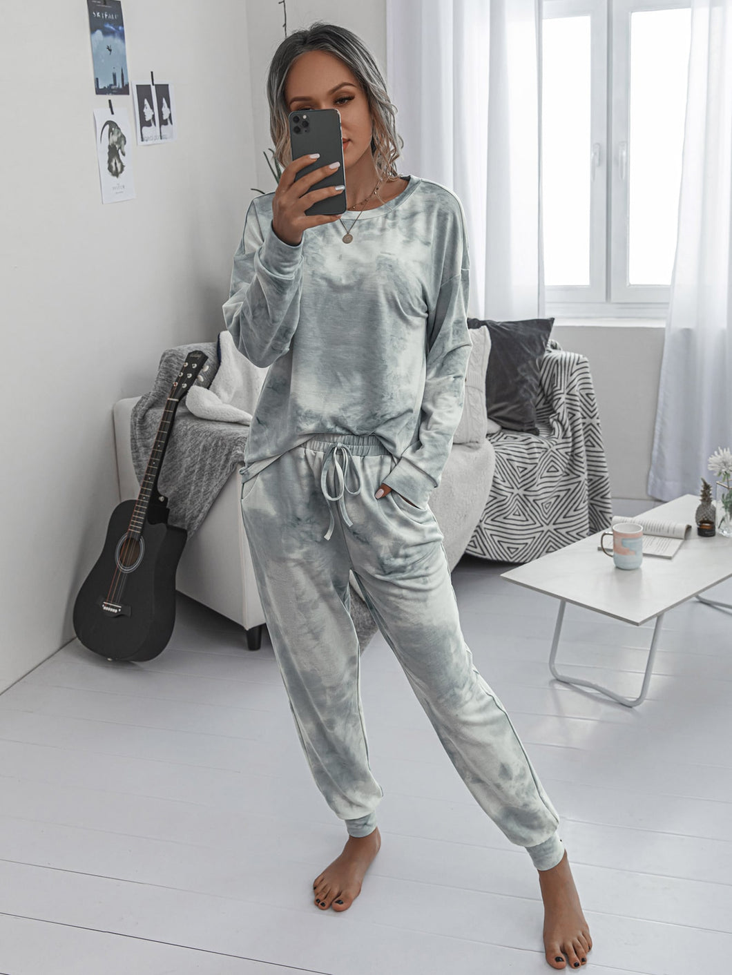 Tie Dye Drop Shoulder Top With Knot Sweatpants