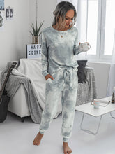 Load image into Gallery viewer, Tie Dye Drop Shoulder Top With Knot Sweatpants