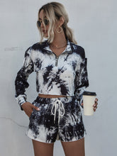 Load image into Gallery viewer, Tie Dye Half Placket Crop Tee & Shorts