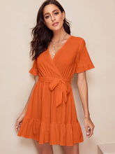 Load image into Gallery viewer, SURPLICE WRAP BELTED RUFFLE HEM DRESS