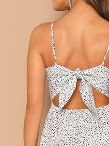 Dalmatian Print Twist Peekaboo Cami Dress