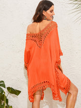 Load image into Gallery viewer, SOLID CROCHET TRIM V NECK COVER UP